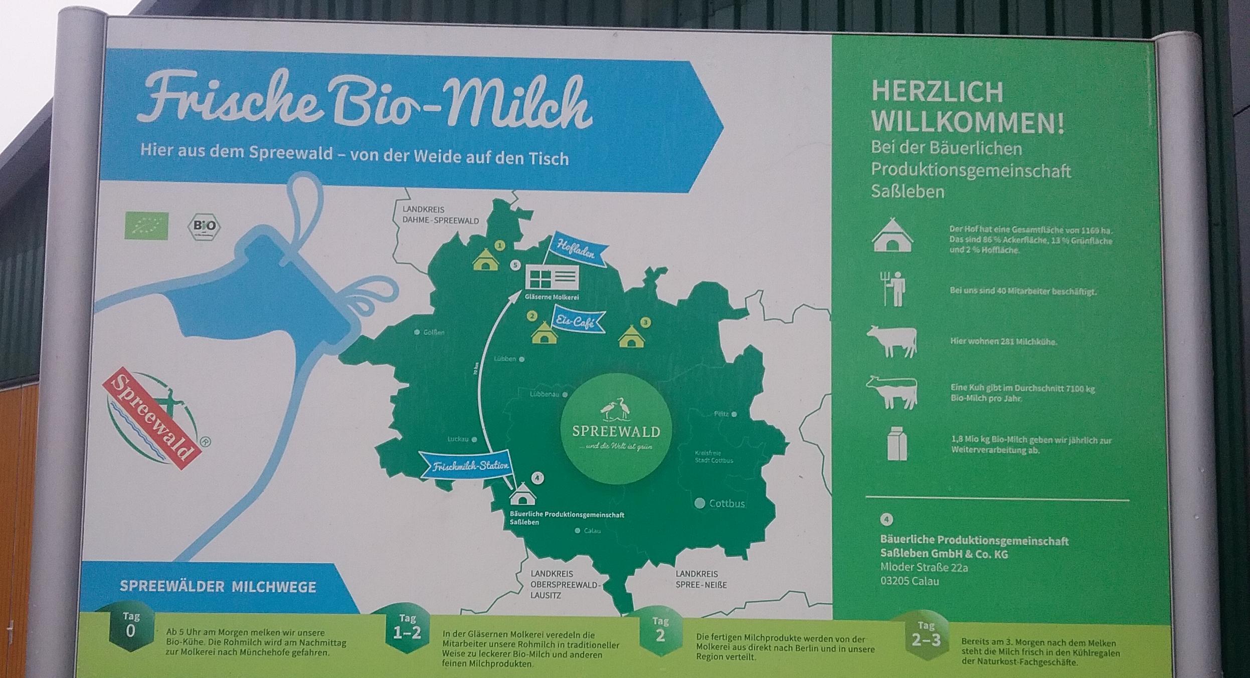 Regionale Milch aus dem Spreewald - Infotafel zu Vertriebswegen